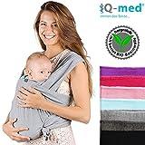 Baby-Tragetuch von iQ-med | aus BIO-Baumwolle | atmungsaktiv und leicht | inkl. leicht verständlicher Anleitung | Babytragetuch, Baby-Trage, Trage-Tuch, Baby, Trage, Tuch, Sling, Wrap Carrier (Hellgrau)