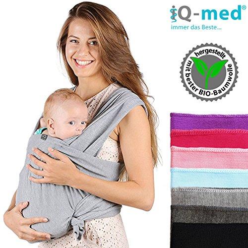 Baby-Tragetuch von iQ-med® | aus BIO-Baumwolle | atmungsaktiv und leicht | inkl. leicht verständlicher Anleitung | Babytragetuch, Baby-Trage, Trage-Tuch, Baby, Trage, Tuch, Sling, Wrap Carrier (Schwarz)