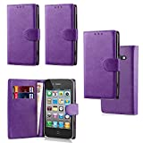 Apple iPhone 4 4S 4G Luxury PU Leather Wallet Cover Flip book Phone Mobile case PU Leather Flip Case Cover (iPhone 4 4S 4G purple bk)