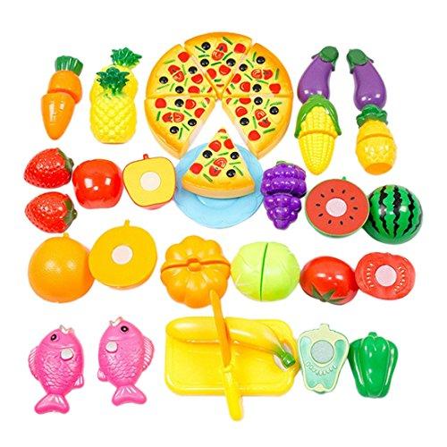 Preisvergleich Produktbild Qianle 24 Stücke Schneid Obst Gemüse Spielzeug als Geschenk,Erziehungsspielzeug Kinder DIY Spielzeug Set
