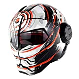 WWUX Helm Motorrad Helme Integral Helme Retro Einzigartige Harley Maske Flip-Up Helme Street Bike City Helme,D-M
