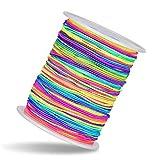 Hilo Elástico 1mm - 100m Cuerda Color Arcoíris Neón, Diseño Degradado de Color- Cordón Manualidades con Bisutería, Abalorios, Pulseras para Niños, Bandas para el Pelo, Disfraces, Llaveros y Máscaras