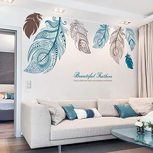 Große Frische Blätter Schlafzimmer Wohnzimmer Dekoration Tapete Selbstklebende Wandaufkleber Kreative Literarische Handbemalte Feder Wandaufkleber