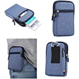 "DFV mobile - Universal Multi-functional Vertical Stripes Pouch Bag Case Zipper Closing Carabiner for => VPhone I6 4.7 "" > BLUE (17 x 10.5 cm)"