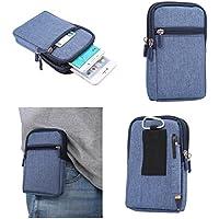 DFV mobile - Universal Multi-functional Vertical Stripes Pouch Bag Case Zipper Closing Carabiner for => BlackBerry Curve 8300 > BLUE (17 x 10.5 cm)