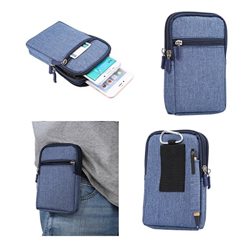 DFV mobile - Universal Multi-functional Vertical Stripes Pouch Bag Case Zipper Closing Carabiner for => HTC Aria > BLUE (17 x 10.5 cm)