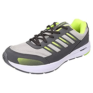 Action Campus Men's Dark Grey Fluorescent Green Synthetic and Nylon Mesh Sports Shoes 9UK