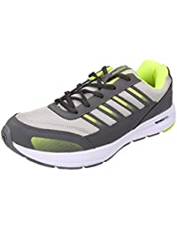 Action Campus Men's Dark Grey Fluorescent Green Synthetic And Nylon Mesh Sports Shoes