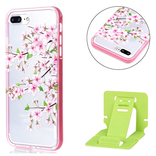 iphone 7 plus 2-in-1 (Tpu silicone Custodia e PC Frame)Transparente Cover, iphone 7 plus Cover Puro, Ekakashop 2016 Neo Disegni Vintage Elegante Colorate Ultra Slim Sottile Morbida Soft TPU Silicone Clear View Gomma Gel Dipinto Fantasia Lusso Bello Donna Ragazza Antiurto Protettiva Rigida Anti-scratch Cover Case Custodia Bumper per Apple iphone 7 plus 5.5 Pollici con Free Ekakashop Kickstand -- Cherry blossoms