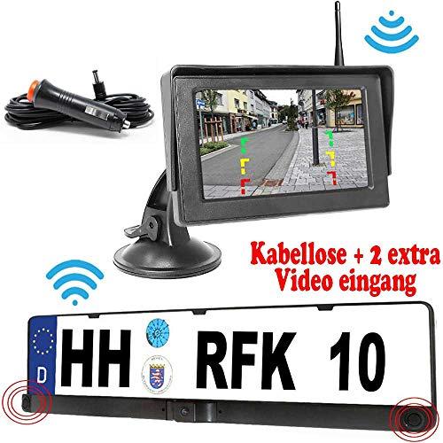 RFK-28 Parksensor Kabellose Funk Rückfahrkamera - Bis zu 5 Jahre Garantie, Kamera ist bereits integriert in der Nummernschild Halter für Auto Transporter, Wohnmobile, Bus - Car Rear View Camera
