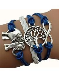 Infinity Bijoux - Pulsera infinito árbol de la vida y elefante/ eternidad / one direction / love - azul/ plata