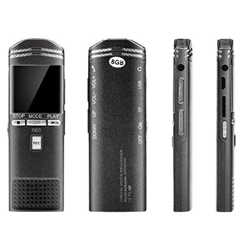 Mini-recorder Voice-activated (Digitales Diktiergerät, Wrcibo 8GB USB Ultrasensitive Stereo Digitalrecorder Sprachaufnahme Aufnahmegerät Audio Voice Recorder mit LCD Display)