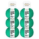 HANSA-FARM 100% Cotone Mercerizzato in 15 Colori Brillanti - Set da 300 g (6 x 50 g) - Lana certificata Oeko-Tex Standard 100 per Maglieria e Uncinetto by Verde