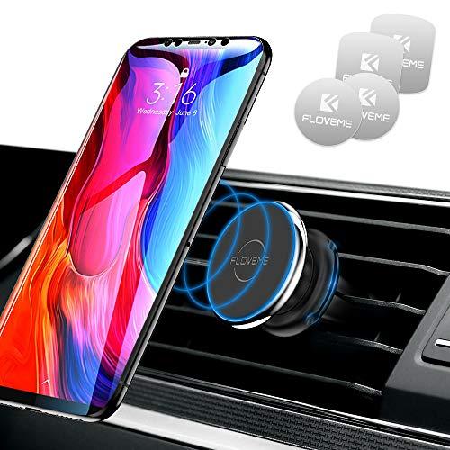Handyhalter Fürs Auto, FLOVEME Magnet KFZ Handyhalterung mit 4 magnetischen Metallplatten Für iPhone XS MAX/XS/XR/X/8/7/6P, Samsung S9/S8/S7, Huawei - Silber