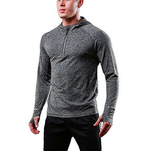 FELiCON Herren Zip Langarm Kapuzen T-Shirt Schnell trocknend Warm-up Sweatshirt Laufen Jogging Top T Herrenbekleidung Base Layer Sportswear Hoodie (Layer Herren Kapuzen-base)