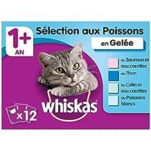 Whiskas Sachets Fraîcheur pour chat adulte (stérilisé ou non), Sélection aux poissons en gelée, 12 sachets repas de 100g