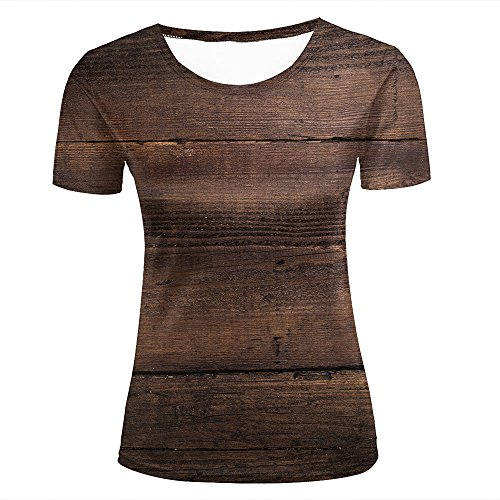Eurapping donne tshirts fashion 3d print graphic brown wood pattern unisex tees xl