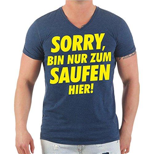 Männer und Herren T-Shirt Sorry bin nur zum Saufen hier Größe S - 8XL V-Neck navy meliert
