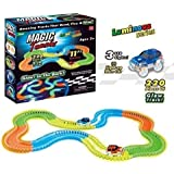 vGRASSP Magic Tracks Toy for Kids- Amazing Racetrack - Bends, Flexes and Glows - 3D LED Lights - 220 pcs, Multicoloured