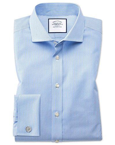 Chemise bleu ciel sans repassage slim fit avec rayures Bengale et col cutaway Bleu Ciel (Double Manchette)