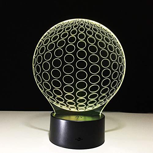 SZQLL 3D Nachtlicht Golf 3D LED Nachtlichter Kreis Ball aus Acryl Tischlampe Wohnzimmer Schlafzimmer Exquisite Geburtstagsgeschenk für Kinder -