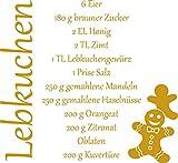 GRAZDesign Wandtattoo Tattoo Aufkleber für Weihnachten Rezept für Lebkuchen Lebkuchenmann (55x50cm//820 Mustard)