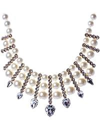 Mujer Elegante Perla de Imitación Diamante de Imitación Collar Blanco