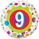 Folienballon Zahl 9 Geburtstag Punkte bunt ca 45 cm Deko 9 Geburtstag ungefüllt (Ballongas geeignet)