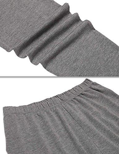 AIMADO Damen Thermounterwäsche Set O-Neck Baumwolle Warm Winter Unterwäsche 2 Farben Grau(Typ B)