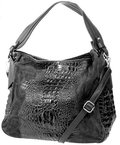 Echt Leder Wildleder Damentasche Kroko Optik Shopper Schultertasche Umhängetasche (schwarz) schwarz