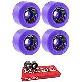 Speedlab Wheels 60mm Speedlab Wheels Cruisers Skateboard Wheels With Bones Bearings - 8mm Bones Super REDS Skate Rated Skateboard Bearings - Bundle Of 2 Items