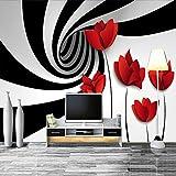 HONGYAUNZHANG Schwarz Und Weiß Gestreifte Blume Benutzerdefinierte Fototapete 3D Stereoskopische Wandbild Wohnzimmer Schlafzimmer Sofa Hintergrund Wandbilder,140Cm (H) X 220Cm (W)