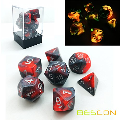 Bescon Polygonal Würfel Spielwürfel Gemini Two-Tone Leuchten D&D Dice Set HOT ROCKS, Helle RPG – Rollenspiel Polyedrische Dice 7pcs Set d4 d6 d8 d10 d12 d20 d%, Brick Box Packaging