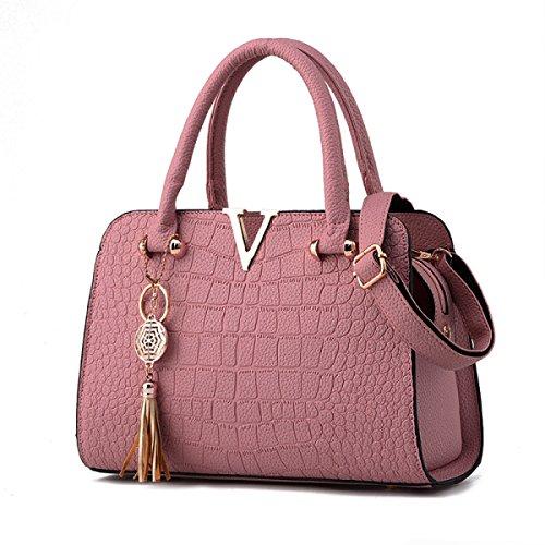 WU ZHI Dame PU Mutter Schultertasche Kuriertasche Handtasche Handtasche Wild Mittelalter Pink