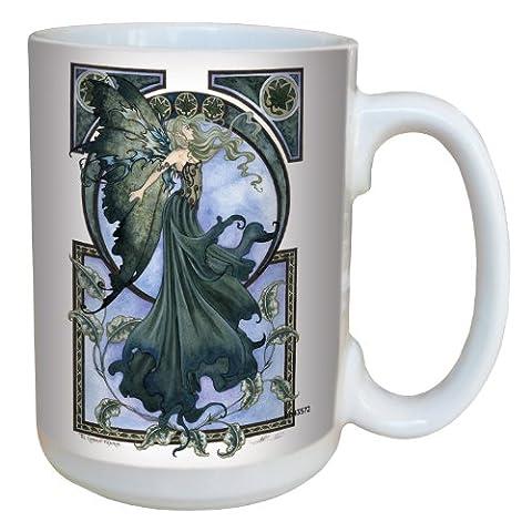 Tree-Free Greetings lm43572 15 oz Fantasy Fairy Ceramic Mug with Full Sized Handle, Green