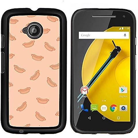 BearCase / Shell posteriore duro della custodia in plastica di copertura di protezione /// Motorola Moto E ( 2nd Generation ) /// pesca hot dog fast food modello spazzatura - 2 ° Fast Peach