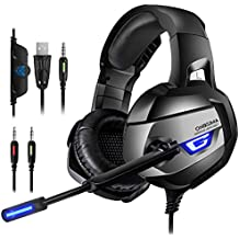 ONIKUMA Casque Gaming - Casque Gamer pour PS4 Xbox One PC Console, 2018 Micro- Casque Gamer, Son 7.1 Surround + Isolation + Fortes Basses, Microphone Casque Stéréo pour Jeux vidéo LED Lumière