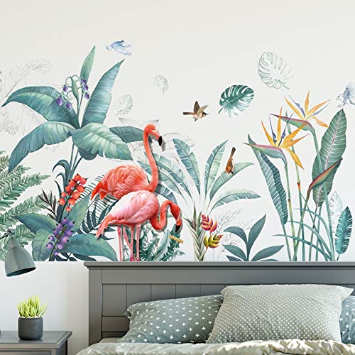 QWER Grüne Frische Tropische Pflanzen Blumen Nordischen Stil Entfernbare Wandaufkleber Abziehbilder Dekoration Für Wohnzimmer (Blume Tropische Tattoo)