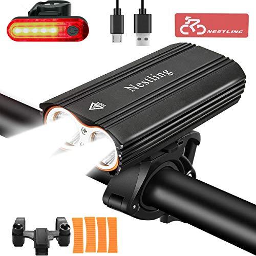 Nestling Luzde Bicicleta,Luz Bicicleta LED Recargable USB con 2400 Lúmenes 4 Modos,Luces Bici Delantera...