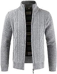 JiaMeng Hombres Jacket Invierno Chaqueta Zipper Outwear Tops Suéter de Cuello sólido Cardigan Abrigos