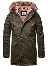 sixth june herren winterjacke fur in khaki