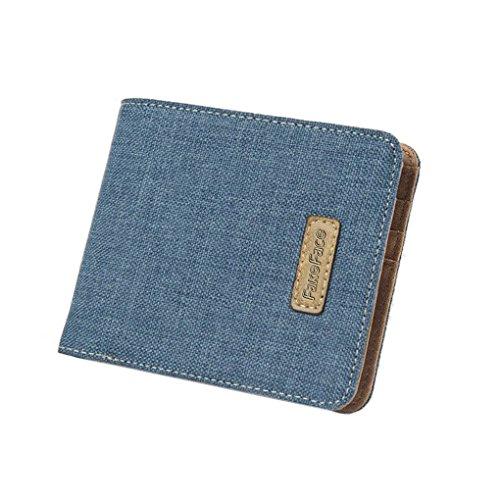 Liying uomini Fashion Business Casual Denim e piatto in pelle Portafoglio Bifold Portamonete Porta Carte di denaro clip, Blue (blu) - WALEFHEFE-062