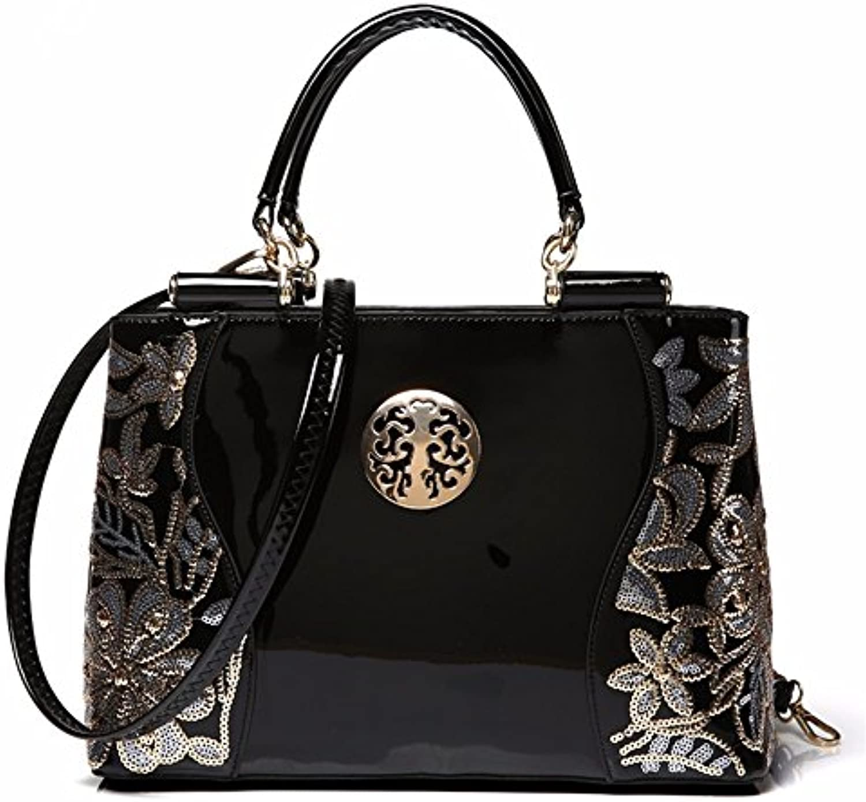 GQFGYYL Nuevo Bolso de Cuero de Moda Bolso de Hombro Mujer Laca,Black