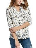 Meaneor Damen Schluppenbluse Mit Blumenprint Blusenshirt Beiläufig Bluse Klassic Hemd Baumwolle, Gr.-EU 38(Herstellergröße: M),Weiß-braun