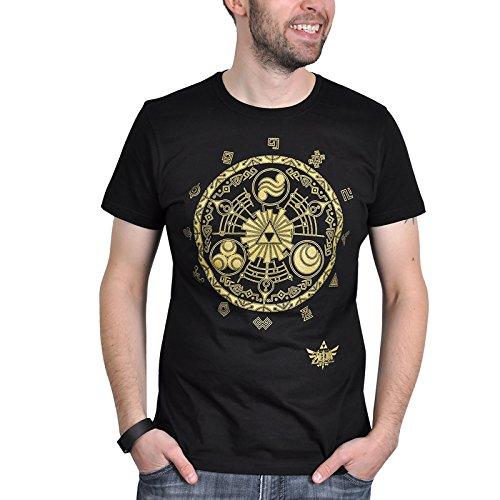The Legend of Zelda - camiseta con el mapa de la Trifuerza - con la licencia oficial de Nintendo, algodón, negra - XL
