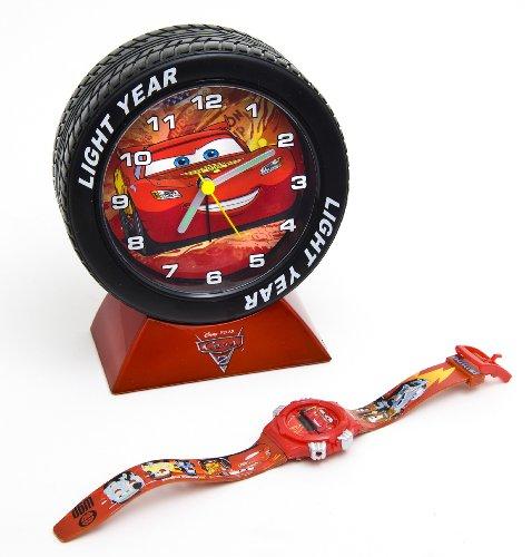 Cars Disney - 2 Jungen Uhren-Set: Armbanduhr Digital und Wecker Analog