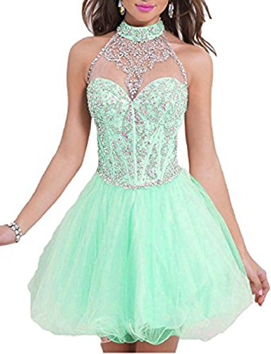Vickyben Damen Maedchen A-Linie lang Kurz Halter Perlen Tuell Abendkleid Ballkleid brautjungfer Cocktail Party kleid mint-short