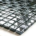 Glasmosaik Fliesen 15x15x8mm Schwarz Metall getrommelt von Mosafil bei TapetenShop