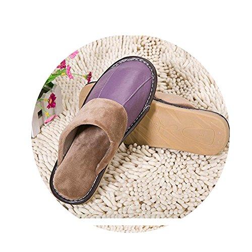 TELLW Pantofole in Pelle di Cotone casa Inverno Pantofole Uomo e Donna Coppie Spesse Suole Non-Slip Pantofole in Pelle Viola