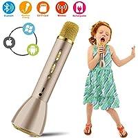 Bluetooth Karaoke Mikrofon, Drahtlos Mikrophon Kabellos Anlage Lautsprecher, Handy Karaoke Microphone für Erwachsene Kinder Aufnahme Gesang Sprache KTV Player für PC iPhone iPad Android Smartphone